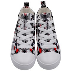 Retro Geometric Red And Black Triangles  Kid s Mid Top Canvas Sneakers