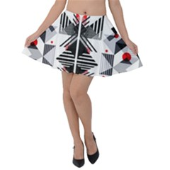 Retro Geometric Red And Black Triangles  Velvet Skater Skirt