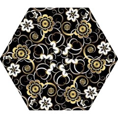 Beautiful Gold And White Flowers On Black Mini Folding Umbrellas