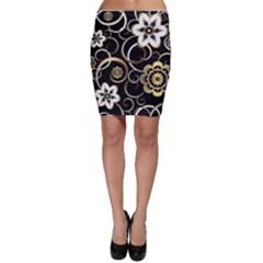 Beautiful Gold And White Flowers On Black Bodycon Skirt