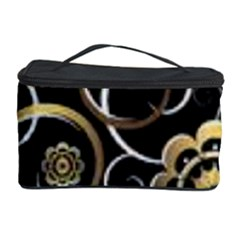 Beautiful Gold And White Flowers On Black Cosmetic Storage Case