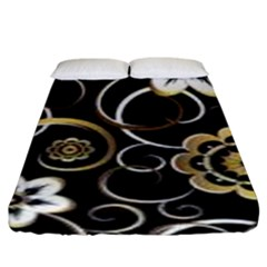 Beautiful Gold And White Flowers On Black Fitted Sheet (king Size)