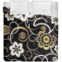 Beautiful Gold And White Flowers On Black Duvet Cover Double Side (king Size)