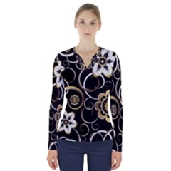 Beautiful Gold And White Flowers On Black V Neck Long Sleeve Top