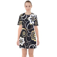 Beautiful Gold And White Flowers On Black Sixties Short Sleeve Mini Dress