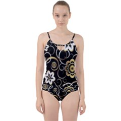 Beautiful Gold And White Flowers On Black Cut Out Top Tankini Set by flipstylezdes
