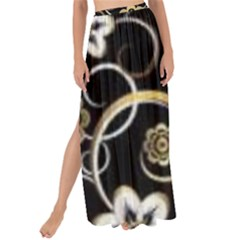 Beautiful Gold And White Flowers On Black Maxi Chiffon Tie Up Sarong by flipstylezdes
