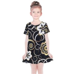 Beautiful Gold And White Flowers On Black Kids  Simple Cotton Dress