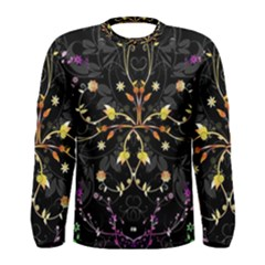 Beautiful Floral Swirl Brushes Vector Design Men s Long Sleeve Tee