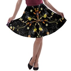 Beautiful Floral Swirl Brushes Vector Design A Line Skater Skirt by flipstylezdes