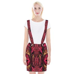 Gorgeous Burgundy Native Watercolors By Kiekie Strickland Braces Suspender Skirt