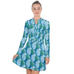 Palm Trees Tropical Beach Coastal Summer Style Small Print Long Sleeve Panel Dress