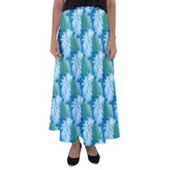 Palm Trees Tropical Beach Coastal Summer Style Small Print Flared Maxi Skirt by CrypticFragmentsColors