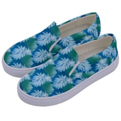 Palm Trees Tropical Beach Coastal Summer Style Small Print Kids  Canvas Slip Ons by CrypticFragmentsColors