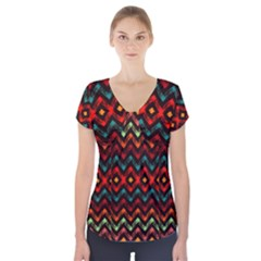 Seamless Native Zigzags By Flipstylez Designs Short Sleeve Front Detail Top