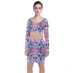 Elegant Japanese Inspired Floral Pattern  Long Sleeve Crop Top & Bodycon Skirt Set by flipstylezdes