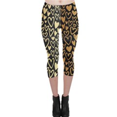 Cluster Of Tiny Gold Hearts Seamless Vector Design By Flipstylez Designs Capri Leggings