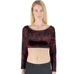 Seamless Dark Burgundy Red Seamless Tiny Florals Long Sleeve Crop Top