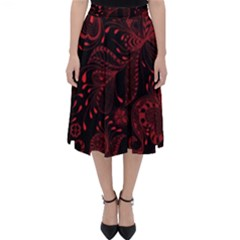 Seamless Dark Burgundy Red Seamless Tiny Florals Folding Skater Skirt by flipstylezdes