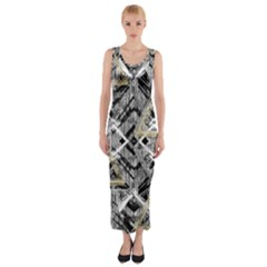 Retro Black And White Gold Design By Kiekiestrickland Fitted Maxi Dress