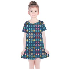 Funny Monsters In Blue Background Kids  Simple Cotton Dress by flipstylezdes