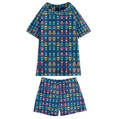 Funny Monsters In Blue Background Kids  Swim Tee And Shorts Set
