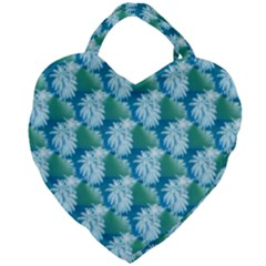 Palm Trees Tropical Beach Coastal Summer Style Small Print Giant Heart Shaped Tote by CrypticFragmentsColors