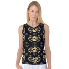 Golden Flowers On Black With Tiny Gold Dragons Created By Kiekie Strickland Women s Basketball Tank Top