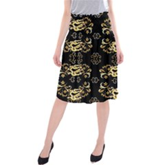 Golden Flowers On Black With Tiny Gold Dragons Created By Kiekie Strickland Midi Beach Skirt