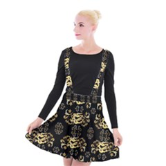 Golden Flowers On Black With Tiny Gold Dragons Created By Kiekie Strickland Suspender Skater Skirt by flipstylezdes