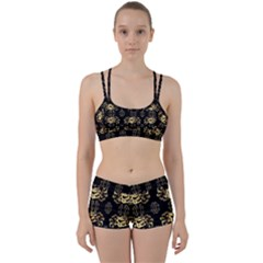 Golden Flowers On Black With Tiny Gold Dragons Created By Kiekie Strickland Women s Sports Set