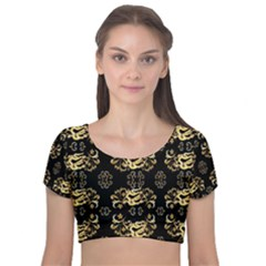 Golden Flowers On Black With Tiny Gold Dragons Created By Kiekie Strickland Velvet Short Sleeve Crop Top  by flipstylezdes