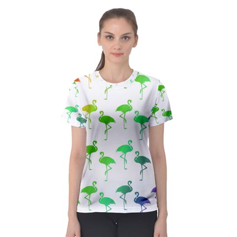 Flamingo Pattern Rainbow Colors Women s Sport Mesh Tee by CrypticFragmentsColors
