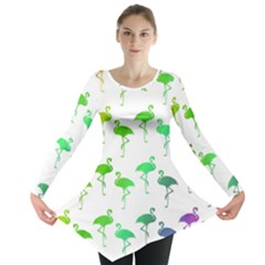Flamingo Pattern Rainbow Colors Long Sleeve Tunic  by CrypticFragmentsColors