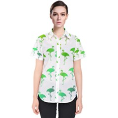 Flamingo Pattern Rainbow Colors Women s Short Sleeve Shirt by CrypticFragmentsColors