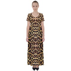 Leopard Skin High Waist Short Sleeve Maxi Dress by ArtworkByPatrick1