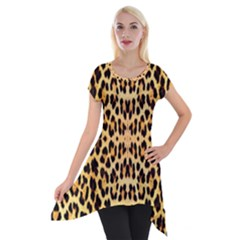 Leopard Skin Short Sleeve Side Drop Tunic by ArtworkByPatrick1