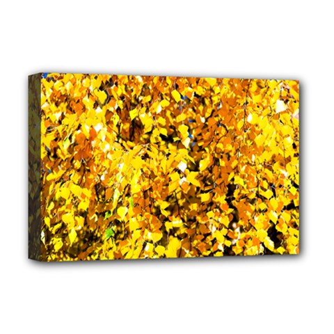 Birch Tree Yellow Leaves Deluxe Canvas 18  X 12   by FunnyCow