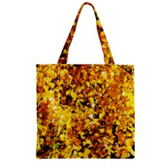 Birch Tree Yellow Leaves Zipper Grocery Tote Bag by FunnyCow