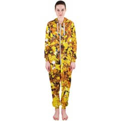 Birch Tree Yellow Leaves Hooded Jumpsuit (ladies)  by FunnyCow