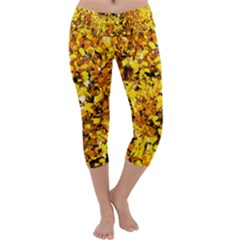 Birch Tree Yellow Leaves Capri Yoga Leggings by FunnyCow