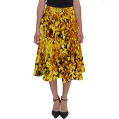 Birch Tree Yellow Leaves Perfect Length Midi Skirt by FunnyCow