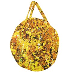 Birch Tree Yellow Leaves Giant Round Zipper Tote by FunnyCow