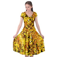 Birch Tree Yellow Leaves Cap Sleeve Wrap Front Dress by FunnyCow