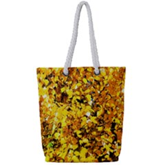 Birch Tree Yellow Leaves Full Print Rope Handle Tote (small) by FunnyCow