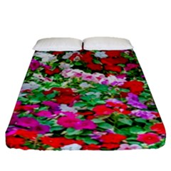 Colorful Petunia Flowers Fitted Sheet (queen Size) by FunnyCow