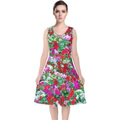 Colorful Petunia Flowers V Neck Midi Sleeveless Dress  by FunnyCow