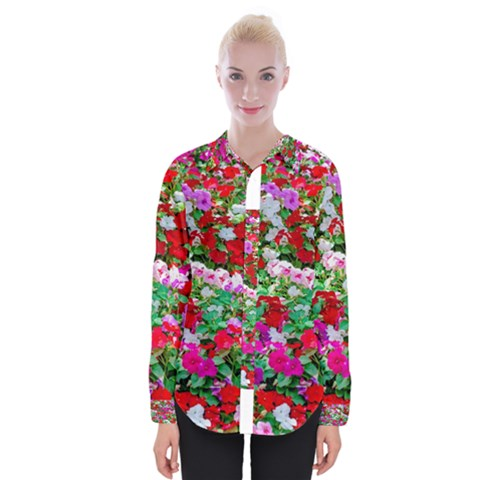 Colorful Petunia Flowers Womens Long Sleeve Shirt by FunnyCow