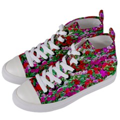 Colorful Petunia Flowers Women s Mid-top Canvas Sneakers by FunnyCow
