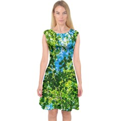 Forest   Strain Towards The Light Capsleeve Midi Dress by FunnyCow